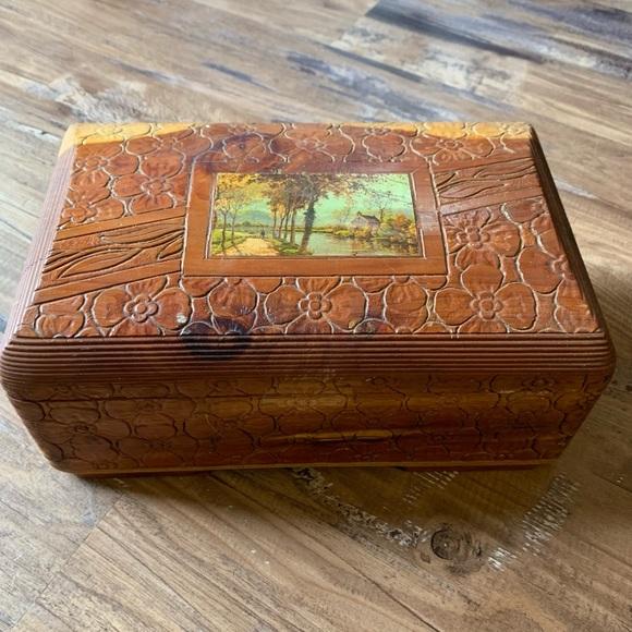 Vintage 70s Wooden Jewelry Box